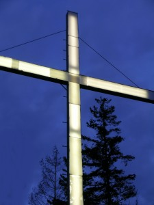 lighted cross monument atop burlington hill, skagit county, washington state